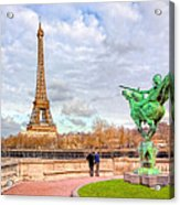 Joan Of Arc And The Eiffel Tower Acrylic Print