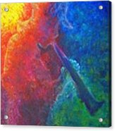 Joe Jazzes Into The Night Acrylic Print by The Art With A Heart By Charlotte Phillips