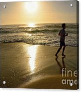 Jogging At Sunrise By Kaye Menner Acrylic Print