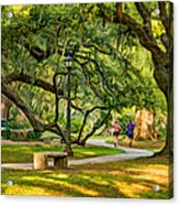 Jogging In City Park Acrylic Print