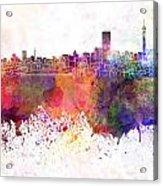 Johannesburg Skyline In Watercolor Background Acrylic Print
