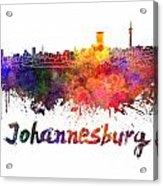 Johannesburg Skyline In Watercolor Acrylic Print