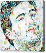 John Belushi Smoking - Watercolor Portrait Acrylic Print
