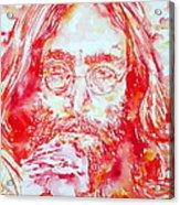 John Lennon With Rose Acrylic Print