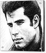 John Travolta Art Drawing Sketch Portrait Acrylic Print