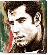 John Travolta - Stylised Drawing Art Poster Acrylic Print