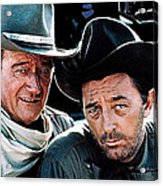John Wayne And Robert Mitchum El Dorado 1967 Publicity Photo Old Tucson Arizona 1967-2012 Acrylic Print