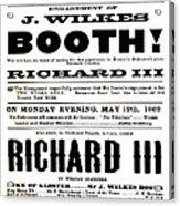 John Wilkes Booth Playbill Acrylic Print