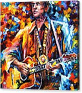 Johnny Cash - Palette Knife Oil Painting On Canvas By Leonid Afremov Acrylic Print