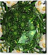 Jonquil Kaleidoscope Under Polyhedron Glass Acrylic Print