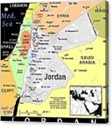Jordan Exotic Map Acrylic Print by Florene Welebny
