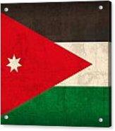 Jordan Flag Vintage Distressed Finish Acrylic Print