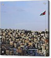 Jordanian Flag Flying Over The City Of Amman Jordan Acrylic Print