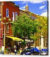 Jos Pappos Furs Street Scene Suburban Shops And Store Fronts Sherbrooke Montreal Carole Spandau Art  Acrylic Print