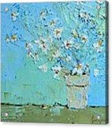 Joyful Daisies, Flowers, Modern Impressionistic Art Palette Knife Oil Painting Acrylic Print