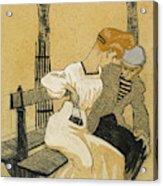 Juan Gris, Man And Woman On Bench, Spanish Acrylic Print