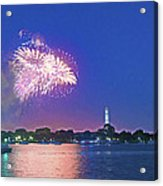 July 4th Fireworks Along The Potomac Acrylic Print by Steven Barrows