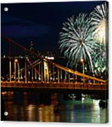 July 4th Fireworks In Pittsburgh Acrylic Print by Jetson Nguyen