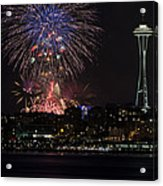July 4th Fireworks In Seattle Acrylic Print by Yoshiki Nakamura