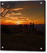 Jump Off Rock Sunset Silhouettes Acrylic Print