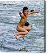Jumping In The River Acrylic Print