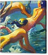Jumping Mermaids Acrylic Print