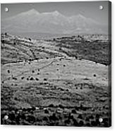Juniper Hills To Snowy Arctic Peaks Black And White Acrylic Print