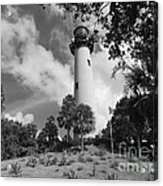 Jupiter Inler Lighthouse In Black And White Acrylic Print