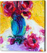 Just Past Bloom - Roses Still Life Acrylic Print