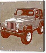 Justjeepn's 2005 Jeep Wrangler Rubicon Car Art Sketch Poster Acrylic Print