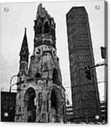 Kaiser Wilhelm Gedachtniskirche Memorial Church New Bell Tower And Christmas Market Berlin Germany Acrylic Print by Joe Fox