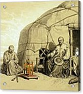 Kalmuks With A Prayer Wheel, Siberia Acrylic Print