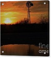Kansas Blaze Orange Sunset With Windmill And Water Reflection Acrylic Print