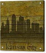 Kansas City Missouri City Skyline Silhouette Distressed On Worn Peeling Wood Acrylic Print