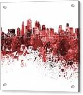 Kansas City Skyline In Red Watercolor On White Background Acrylic Print
