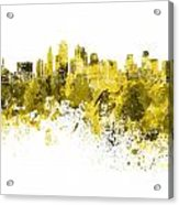 Kansas City Skyline In Yellow Watercolor On White Background Acrylic Print