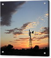 Kansas Golden Sky With A Windmill Acrylic Print
