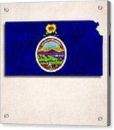Kansas Map Art With Flag Design Acrylic Print