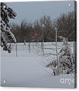 Kansas Snowy Landscape Tree's And Fence Acrylic Print