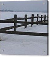 Kansas Snowy Wooden Fence Acrylic Print