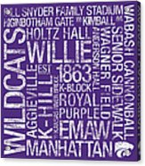 Kansas State College Colors Subway Art Acrylic Print by Replay Photos