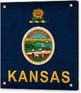Kansas State Flag Art On Worn Canvas Acrylic Print