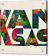 Kansas Typographic Watercolor Map Acrylic Print