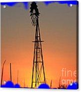 Kansas Windmill Framed Orange Silhouette In Blue Acrylic Print