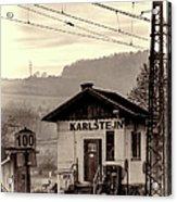 Karlstejn Railroad Shack Acrylic Print by Joan Carroll