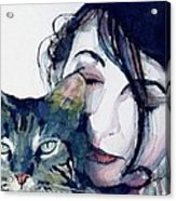 Kate And Her Cat Acrylic Print by Paul Lovering