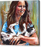 Kate Middleton Duchess Of Cambridge And Her Royal Baby Cat Acrylic Print
