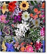 Kathy's Flowers Collage Acrylic Print