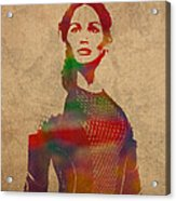 Katniss Everdeen From Hunger Games Jennifer Lawrence Watercolor Portrait On Worn Parchment Acrylic Print