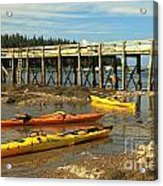 Kayaks By The Pier Acrylic Print